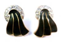 Vintage Art Deco Style Rhinestone And Black Enamel Ribbon Earrings.